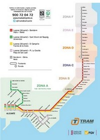 Metro map of Alicante
