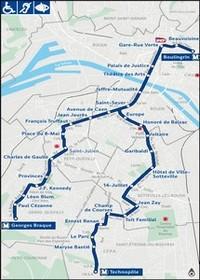 Metro map of Rouen