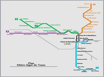Metro map of Tunis